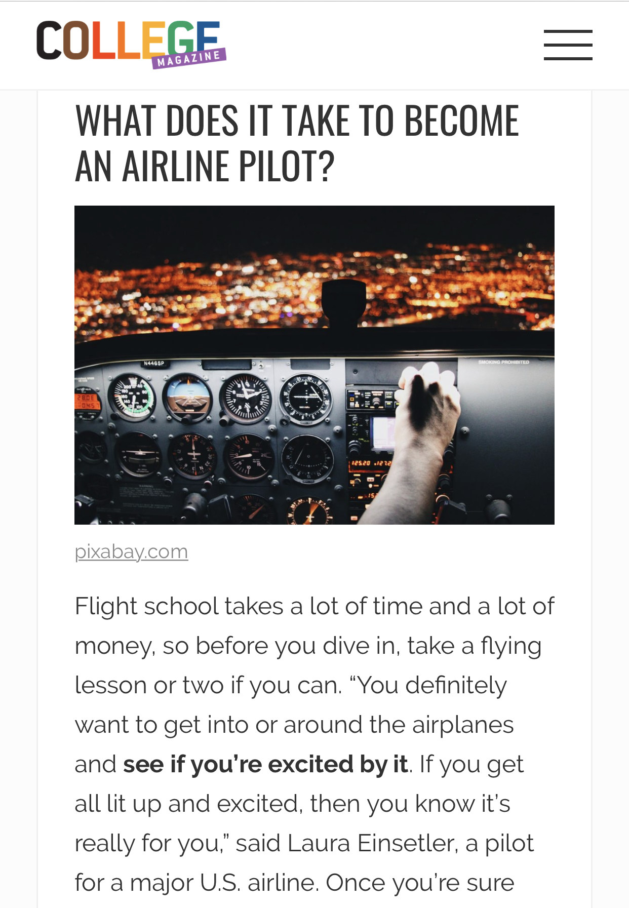 """Read more about the article """"How to Become a Pilot"""" – College Magazine"""